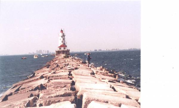 Chicago Harbor Light at the end of the breakwater